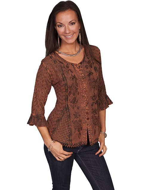Scully Ladies 3/4 Sleeve Top HC67