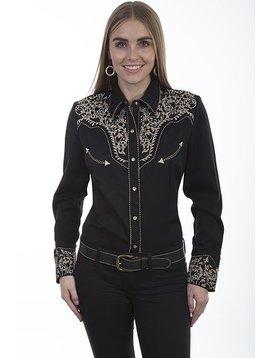 Scully Ladies Retro Vine L/S Shirt PL-866