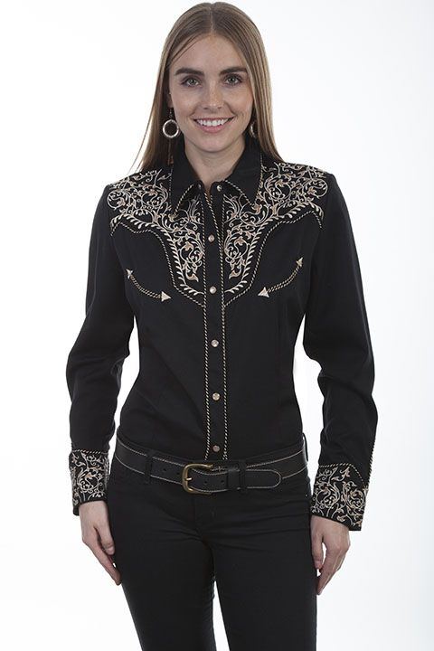 Scully Ladies Retro Vine L/S Shirt PL-866