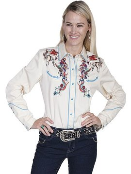 Scully Ladies Horse Retro Long Sleeve PL-856C