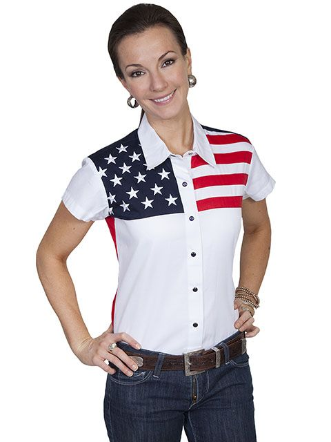Scully Ladies Short Sleeve Red White and Blue Shirt PL-756SS