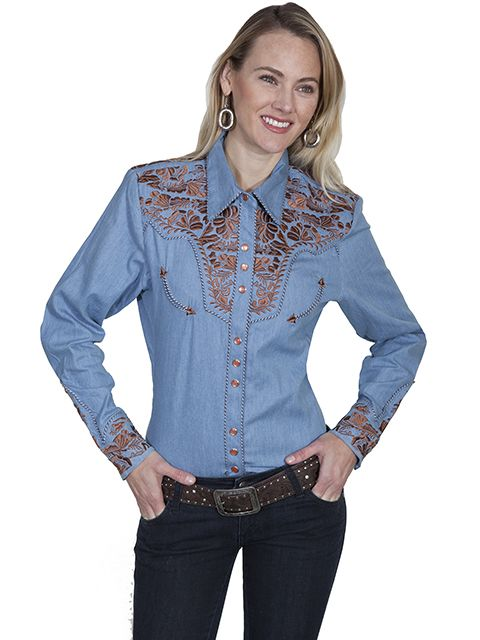 Scully Ladies Tooled Embroidered Long Sleeve Shirt PL-654