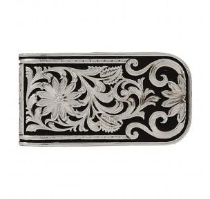 Montana Silversmith Silver/Black Floral Money Clip MCL27