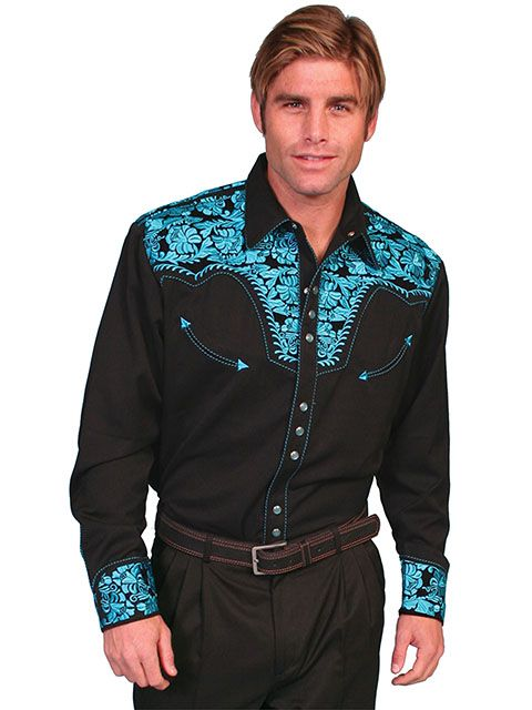 Scully Men's Floral Tooled Retro Long Sleeve Shirt P-634