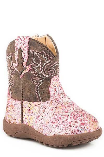 """Roper 09-016-1225-2062PI  Infant """"Glitter Aztec"""" Cowbabies Boot"""