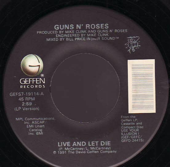 """Guns N' Roses - Live And Let Die - Vinyl, 7"""", 45 RPM, Single - 313888857"""