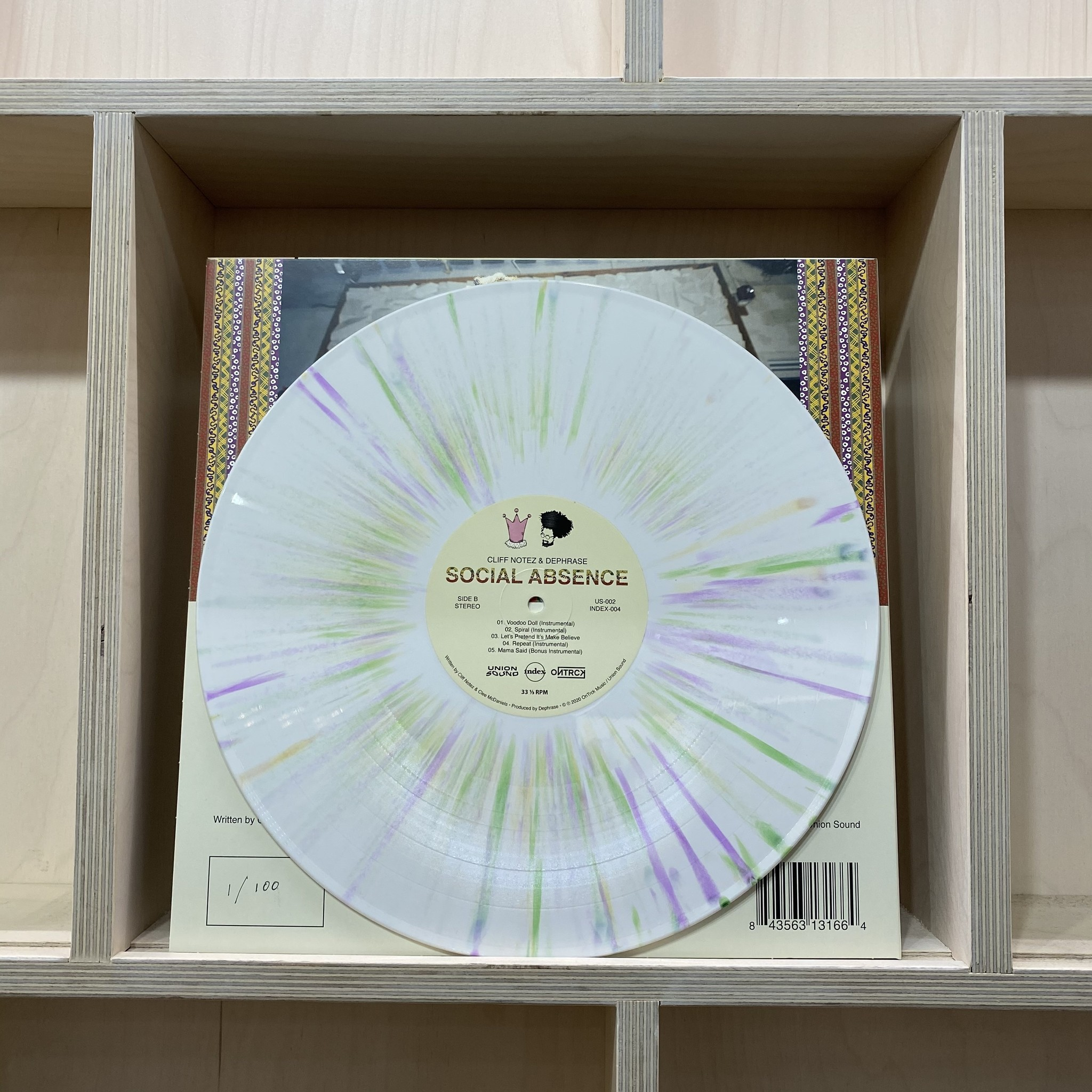 """Cliff Notez & Dephrase - Social Absence - Vinyl, 12"""", EP, Limited Edition, White w/ Green, Yellow & Purple Splatter **SOLD OUT**"""