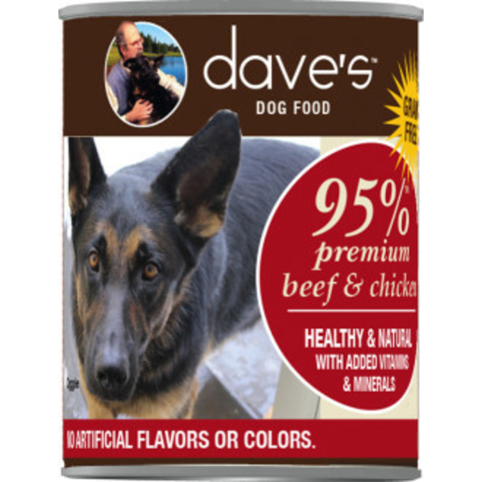 Dave's Pet Food Dave's 95% Beef and Chicken Canned Dog Food 13oz