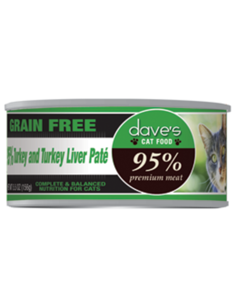 Dave's Pet Food Dave's 95% Turkey and Turkey Liver Pâté Canned Cat Food 5.5oz
