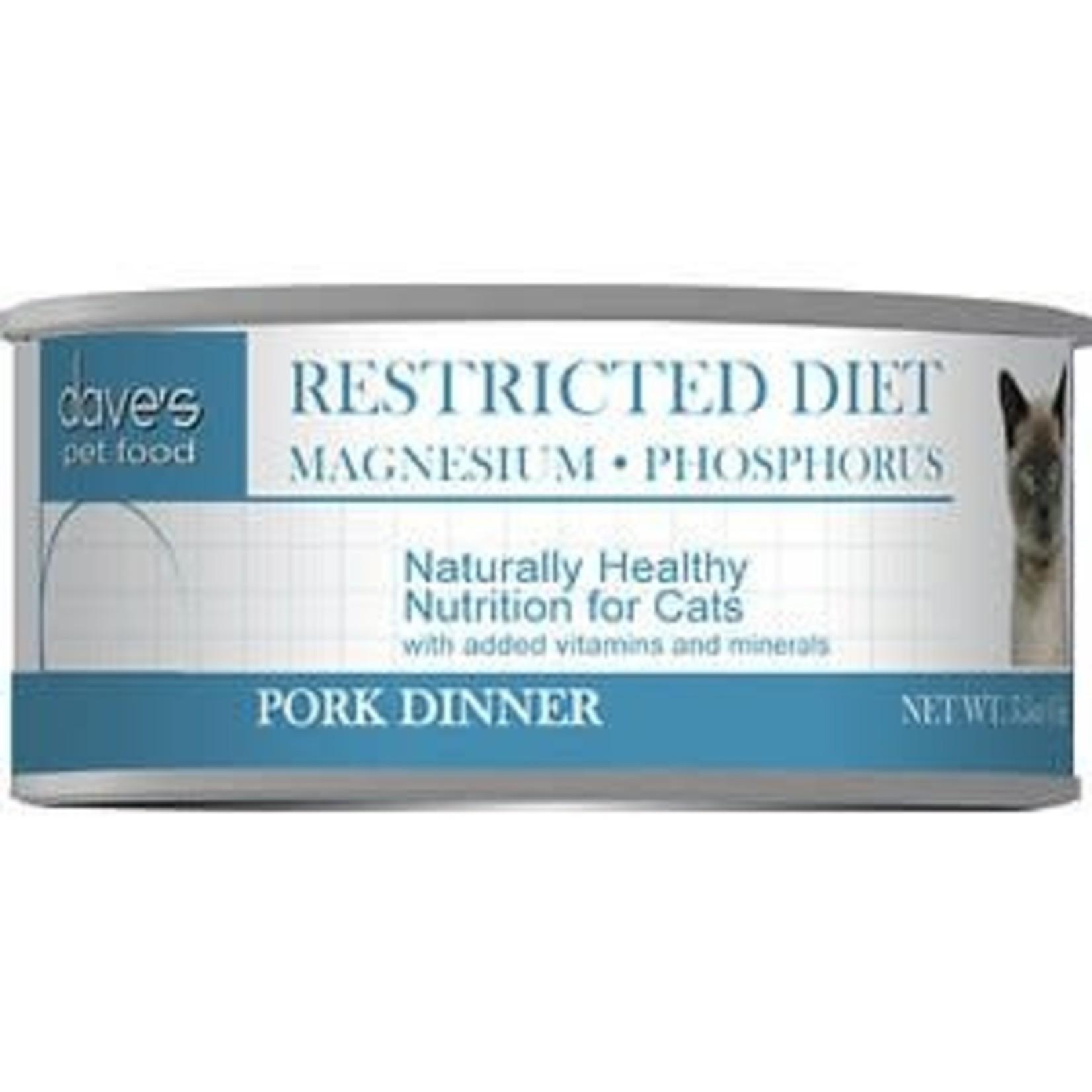Dave's Pet Food Dave's Restricted Diet Magnesium & Phosphorus Pork Canned Cat Food 5.5oz