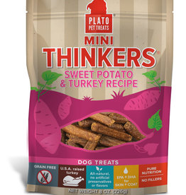 Plato Pet Treats PLATO Mini Thinkers Sweet Potato and Turkey Dog Treats 6oz