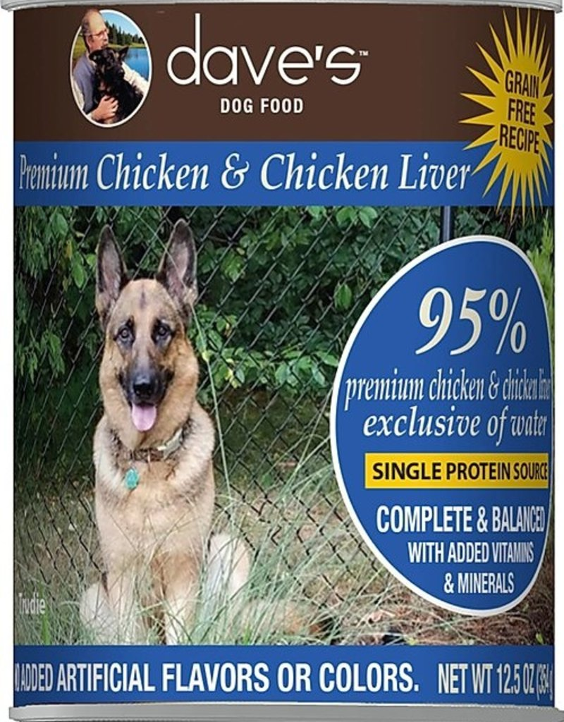 Dave's Pet Food Dave's 95% Chicken and Chicken Liver Canned Dog Food 12.5oz