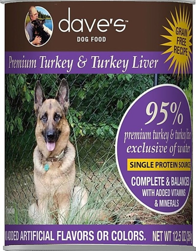 Dave's Pet Food Dave's 95% Turkey and Turkey Liver Canned Dog Food 12.5oz