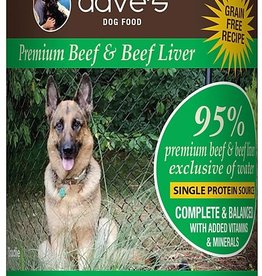 Dave's Pet Food Dave's 95%  Beef and Beef Liver Canned Dog Food 12.5oz