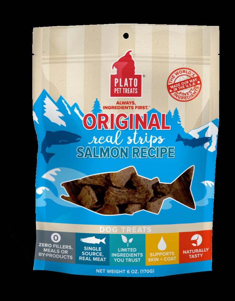Plato Pet Treats PLATO Real Strips Salmon Dog Treats 18oz