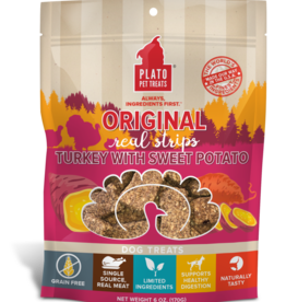 Plato Pet Treats PLATO Real Strips Turkey with Sweet Potato Dog Treats 18oz