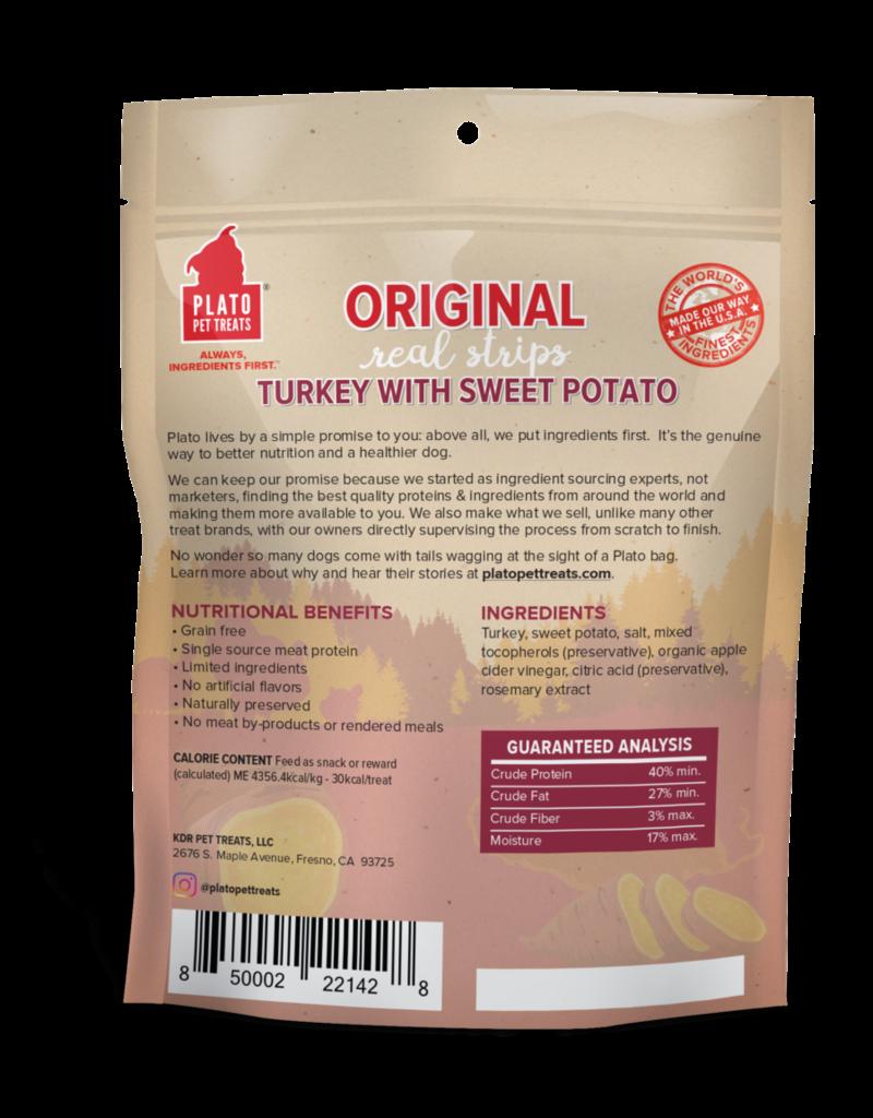 Plato Pet Treats PLATO Real Strips Turkey with Sweet Potato Dog Treats 18oz