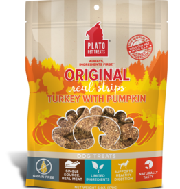 Plato Pet Treats PLATO Real Strips Turkey with Pumpkin Dog Treats 18oz