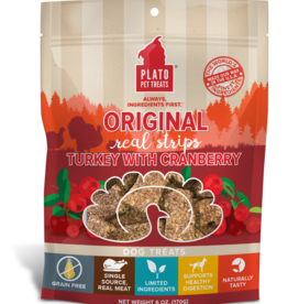 Plato Pet Treats PLATO Real Strips Turkey with Cranberry Dog Treats 18oz