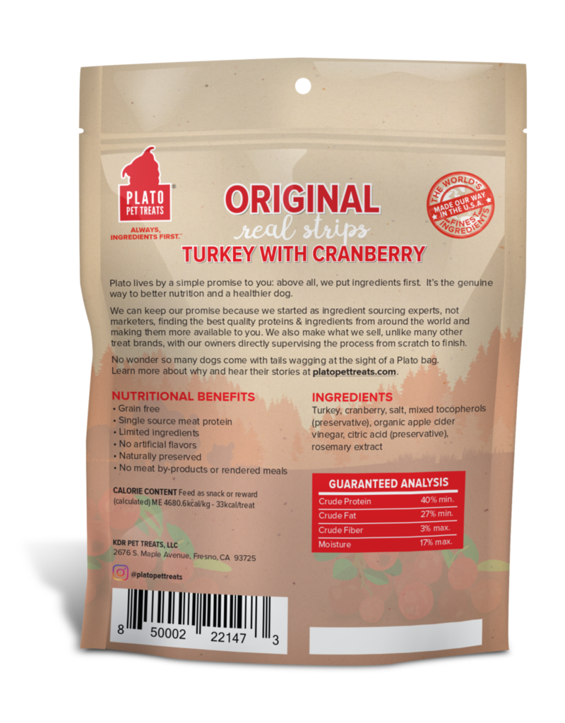 Plato Pet Treats PLATO Real Strips Turkey with Cranberry Dog Treats 18oz