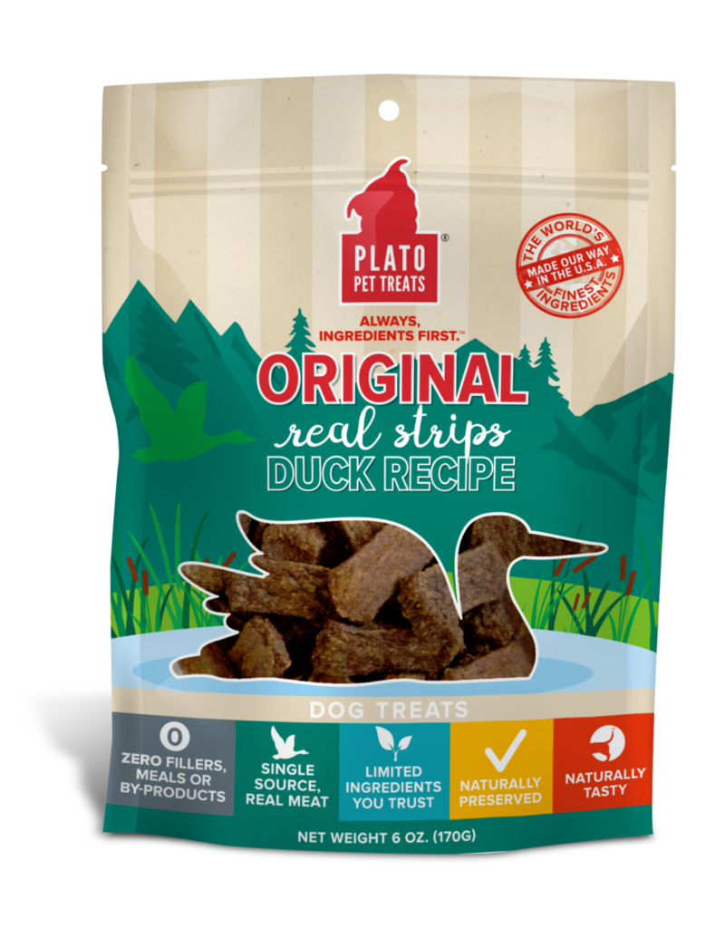 Plato Pet Treats PLATO Real Strips Duck Dog Treats 18oz