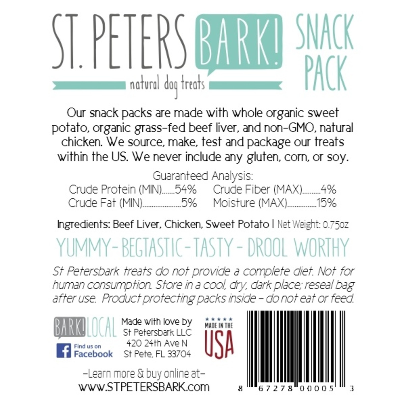 St PetersBARK! St. PetersBARK! Snack Pack Dog Treat 0.75oz