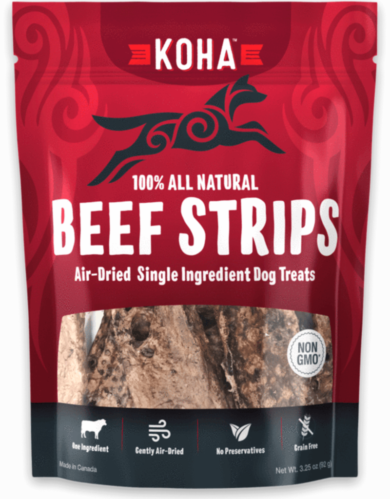Koha KOHA Air-Dried Beef Strips Dog Treats 3.25oz