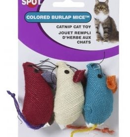 Ethical Products ETHICAL Burlap Mice Catnip Toy 3pk
