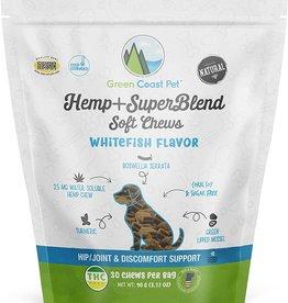 Green Coast Pet Green Coast Pet Hemp+SuperBlend Whitefish Dog Treats 30ct
