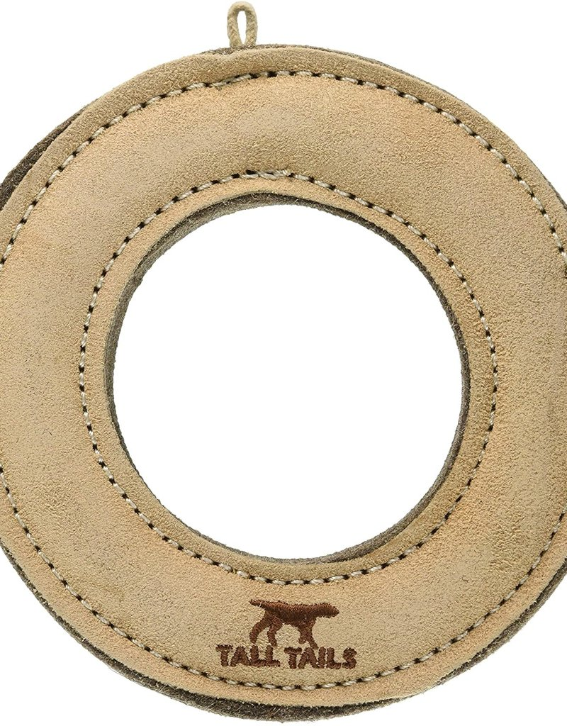 """Tall Tails TALL TAILS Natural Leather & Wool Ring 7"""" Dog Toy"""