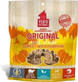 Plato Pet Treats PLATO GF Real Strips Turkey With Pumpkin Dog Treats 3oz
