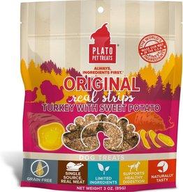 Plato Pet Treats PLATO GF Real Strips Turkey & Sweet Potato Dog Treats 3oz