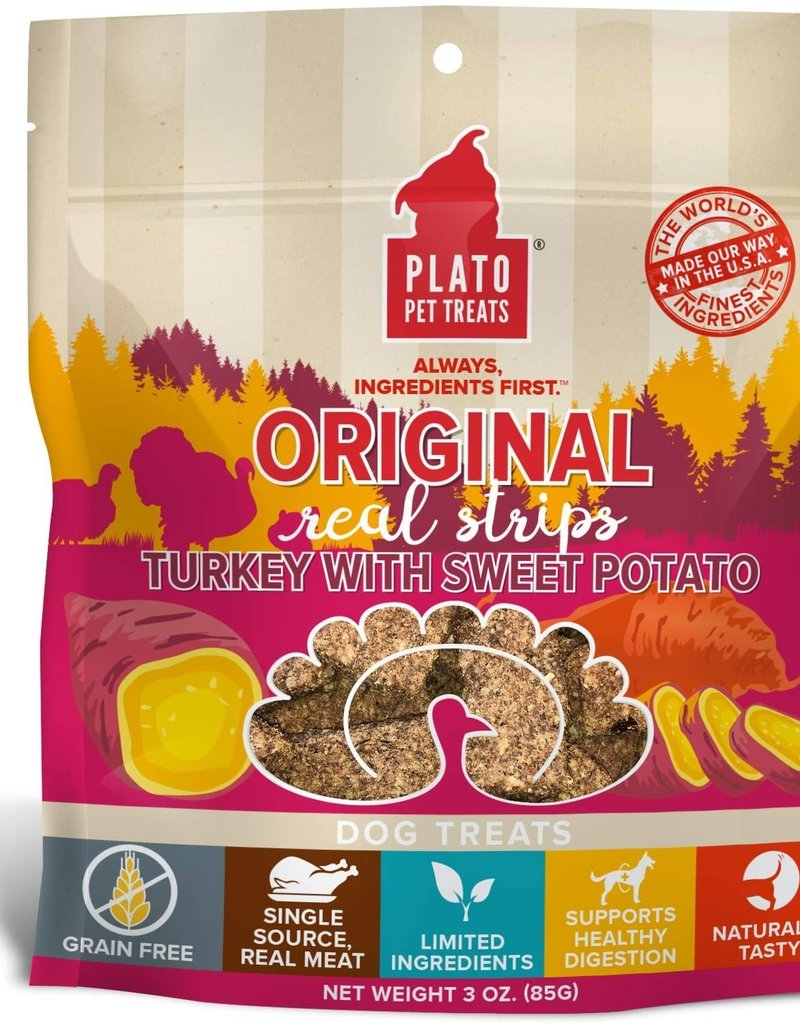 Plato Pet Treats PLATO GF Real Strips Turkey & Sweet Potato Dog Treats 3oz