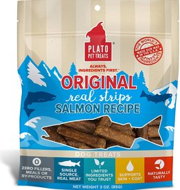 Plato Pet Treats PLATO Real Strips Salmon Dog Treats 3oz *Special Order*