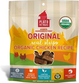 Plato Pet Treats PLATO Real Strips Organic Chicken Dog Treats 3oz