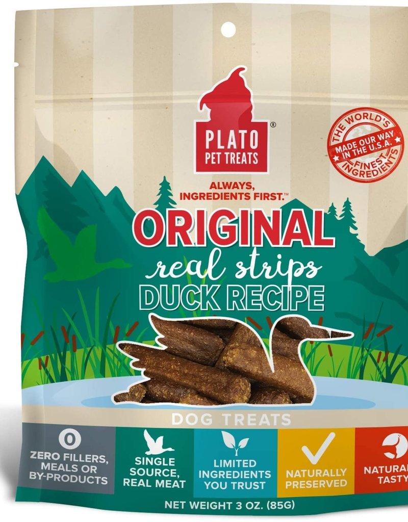 Plato Pet Treats PLATO Real Strips Duck Dog Treats 3oz