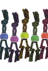 """MultiPet Multipet Nuts For Knots 3-Knot Tug w/ Tennis Ball Dog Toy 15"""""""
