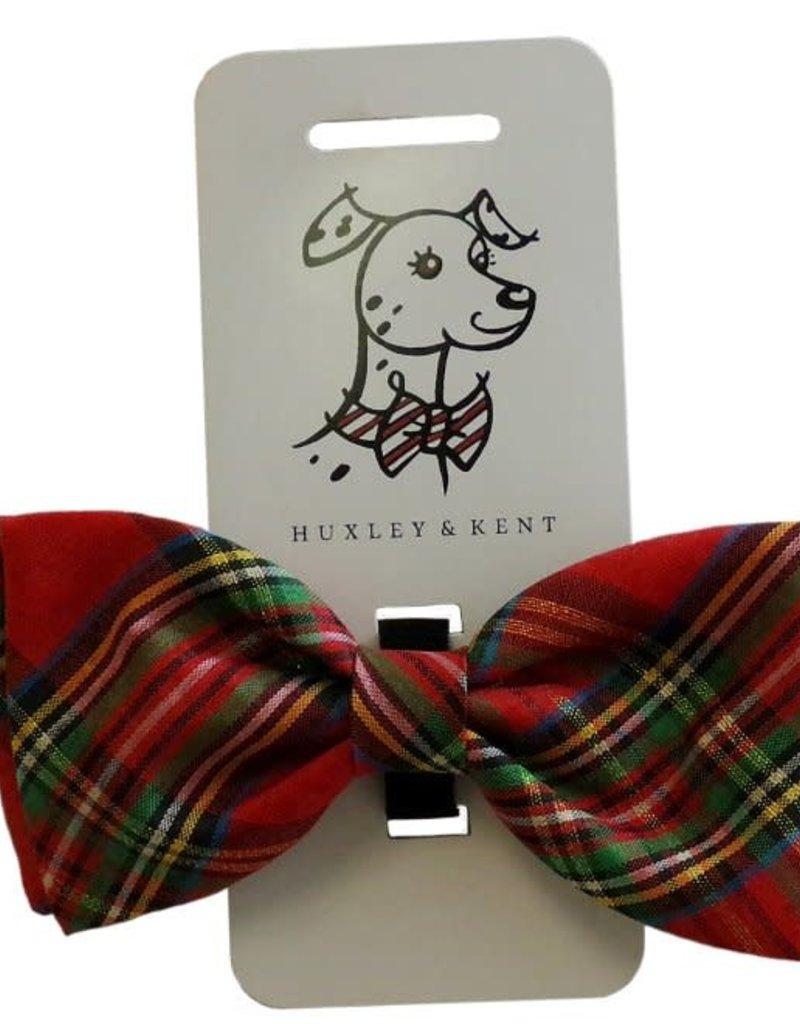 Huxley & Kent Bowtie Red Plaid Lurex Dog XL