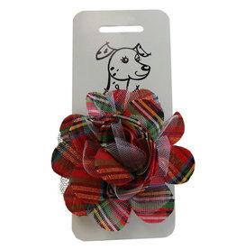 Huxley & Kent Huxley & Kent Collar Bud Red Plaid Lurex Sm Dog