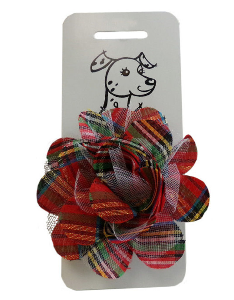 Huxley & Kent Collar Bud Red Plaid Lurex Sm Dog