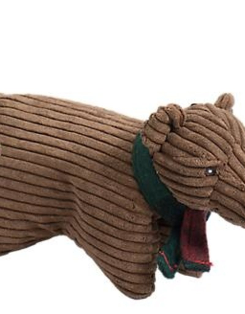 Hugglehounds Hugglehounds Squooshie Corduroy Brown Bear Holiday Dog Toy Small