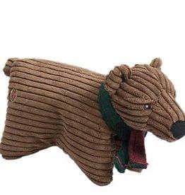 Hugglehounds Hugglehounds Squooshie Corduroy Brown Bear Holiday Dog Toy Large