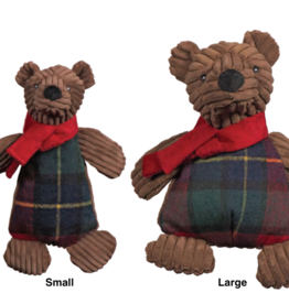 Hugglehounds Hugglehounds Holiday Chubbie Corduroy Brown Bear Dog Toy Sm