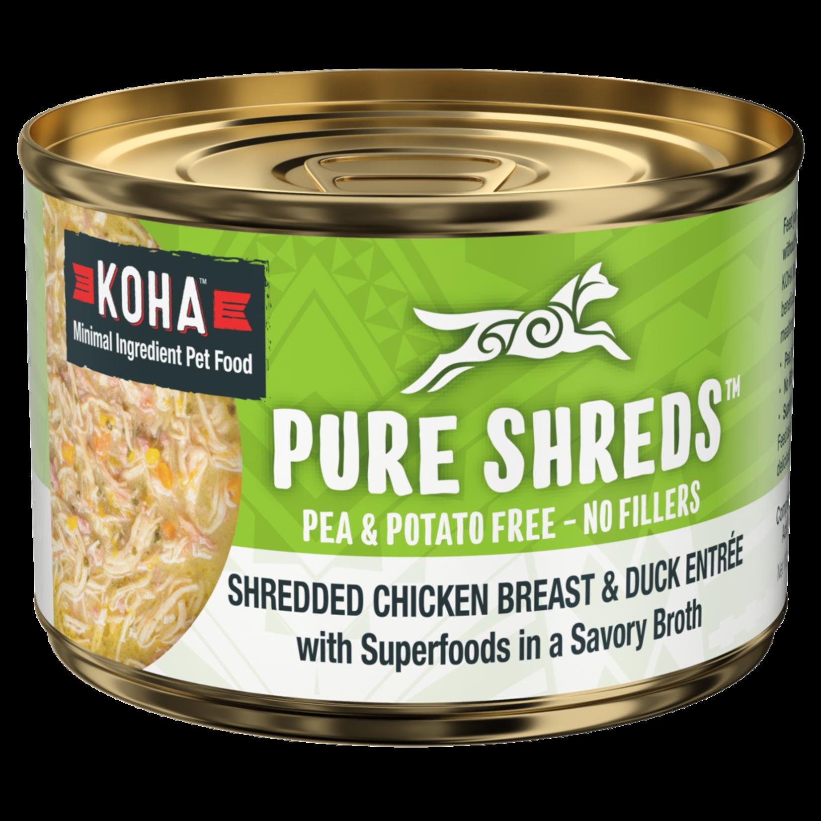 Koha KOHA Pure Shreds Shredded Chicken Breast & Duck Entrée Dog Can 5.5oz