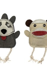 Hugglehounds Hugglehounds Leather Sock Monkey & Raccoon 2pk Dog Toy Wee