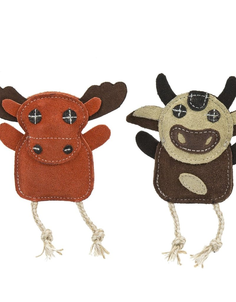 Hugglehounds Hugglehounds Leather Moose & Cow 2pk Dog Toy Wee