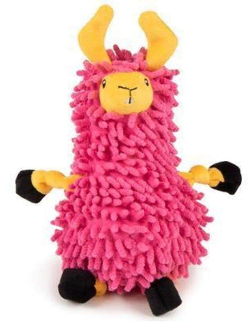 Worldwise/QPG/GoDog Godog Noodle Llama Dog Toy Small Pink