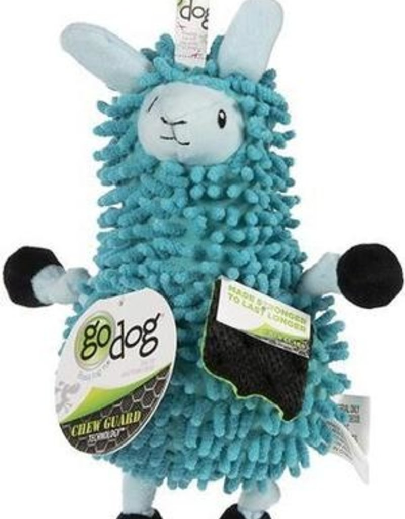 Worldwise/QPG/GoDog Godog Noodle Llama Dog Toy Small Blue