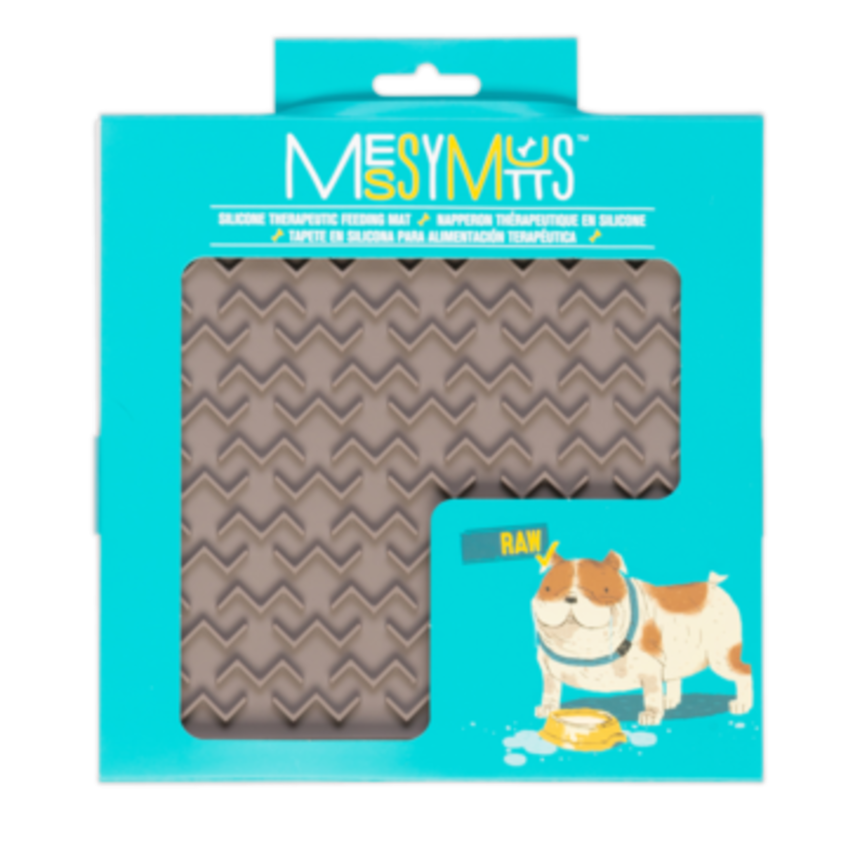 Messy Mutts MESSY MUTTS Silcone Interactive Slow Feeder w/ Spatula Grey