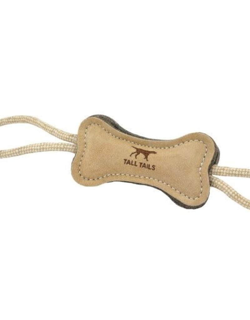 """Tall Tails TALL TAILS Leather & Wool Bone Toy Dog 6"""""""